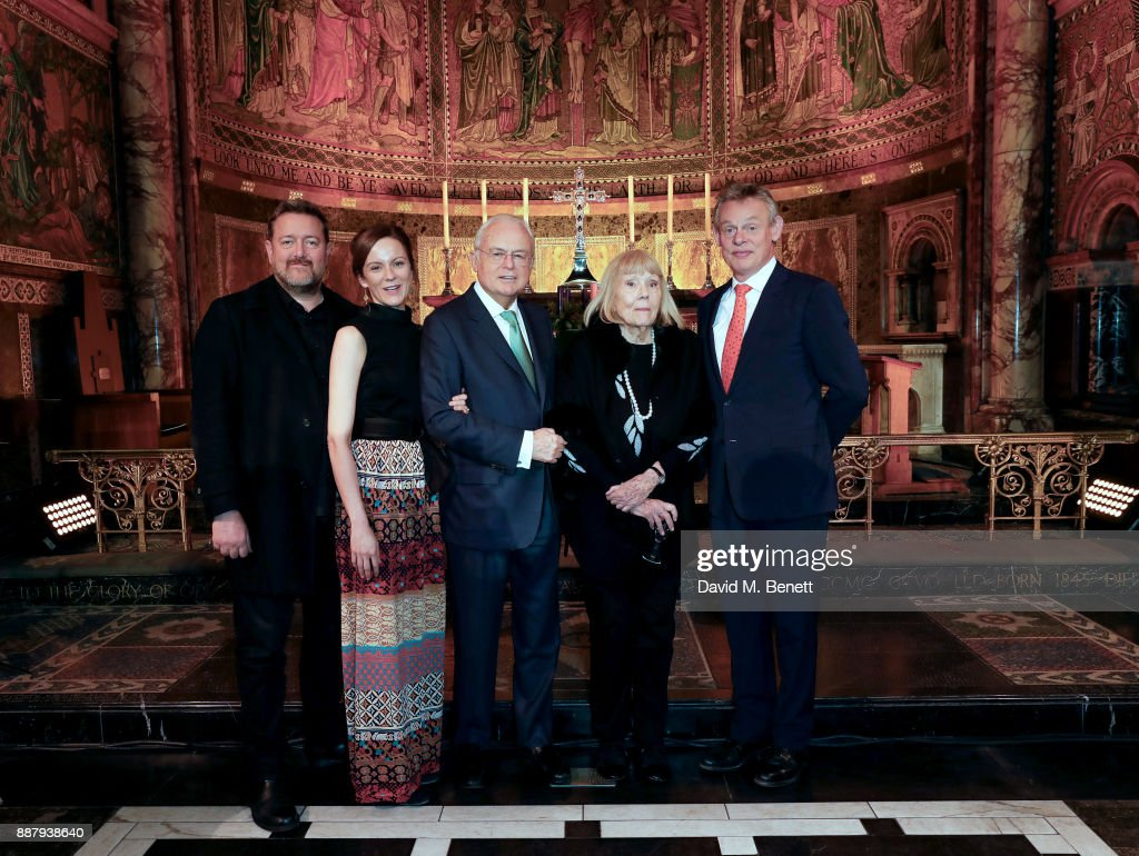 Guy Garvey, Rachael Stirling, Martyn Lewis, Dame Diana Rigg and Martin Clunes attend Macmillan Cancer Support's Guards' Chapel Christmas Carol Concert at Wellington Barracks on December 7, 2017 in London, England.