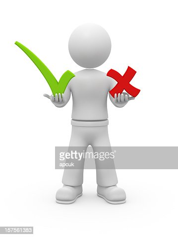 3D guy holding OK and NO chekmarks. : Stockfoto