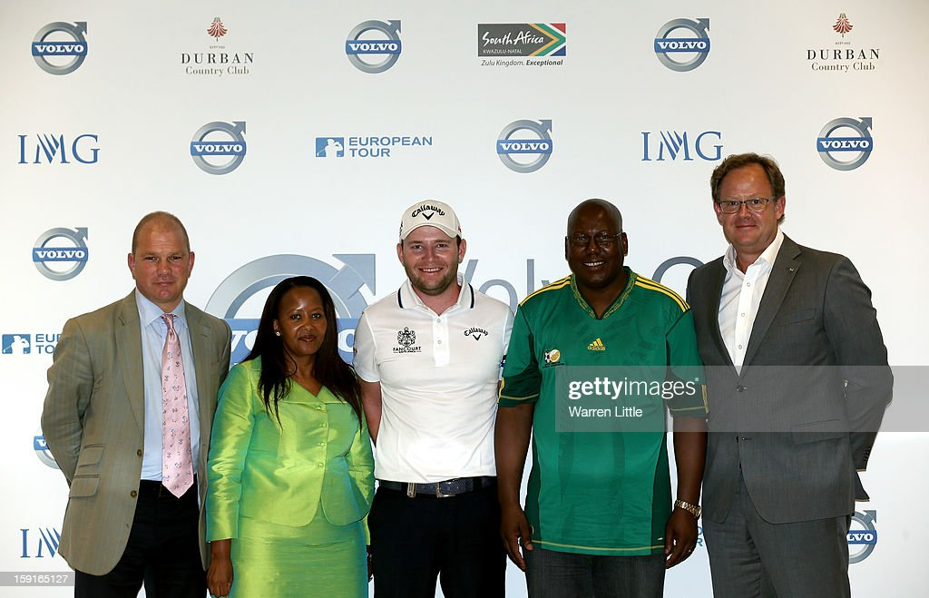 Guy Kinnings, Global Co-Managing Director, IMG Golf, Tokozile Xasa, Deputy Minister of Tourism, South African Government, Branden Grace of South Africa, Michael Mabuyakhulu, MEC for Economic Development and Tourism, KwaZulu-Natal Provincal Government and Per Ericsson, President of Volvo Event Management pose for a picture after addressing the media for the offical opening press conference of the Volvo Golf Champions with defending champion, Branden Grace of South Africa at Durban Country Club on January 9, 2013 in Durban, South Africa.