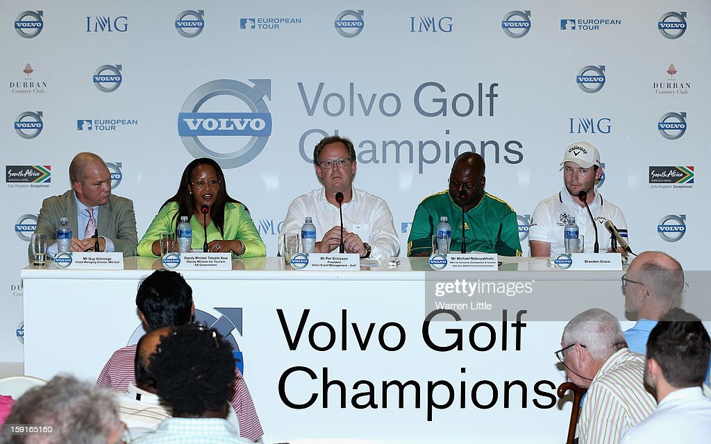 Guy Kinnings, Global Co-Managing Director, IMG Golf, Tokozile Xasa, Deputy Minister of Tourism, South African Government, Per Ericsson, President of Volvo Event Management, Michael Mabuyakhulu, MEC for Economic Development and Tourism, KwaZulu-Natal Provincal Government and Branden Grace of South Africa address the media for the offical opening press conference of the Volvo Golf Champions with defending champion, Branden Grace of South Africa at Durban Country Club on January 9, 2013 in Durban, South Africa.