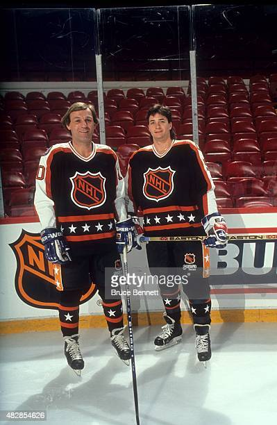 Guy Lafleur and Joe Sakic both of the Wales Conference and the Quebec Nordiques pose for a portrait before the 1991 42nd NHL AllStar Game against the...