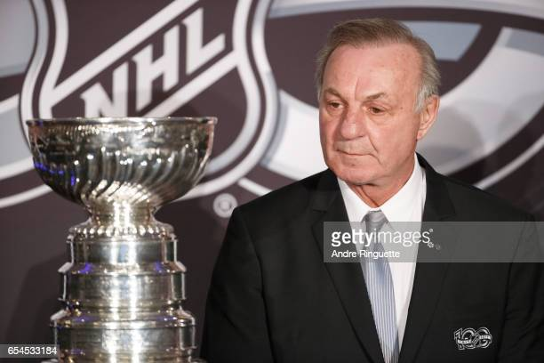 Guy Lafleur looks on as he stands with the Stanley Cup during the 2017 Scotiabank NHL 100 Classic announcement at the Chateau Laurier on March 17...