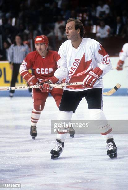 Guy Lafleur of Canada skates on the ice during the 1981 Canada Cup Final against the Soviet Union on September 13 1981 at the Montreal Forum in...