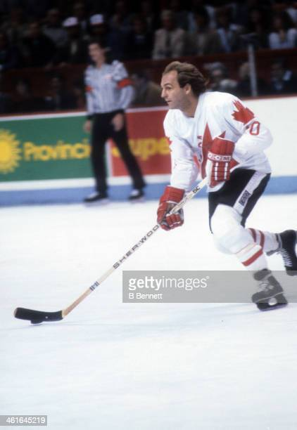 Guy Lafleur of Canada skates with the puck during the 1981 Canada Cup Final against the Soviet Union on September 13 1981 at the Montreal Forum in...