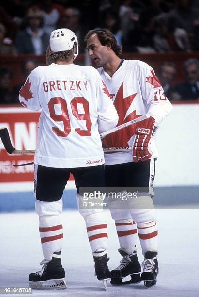 Guy Lafleur of Canada talks with Wayne Gretzky during the 1981 Canada Cup Final against the Soviet Union on September 13 1981 at the Montreal Forum...