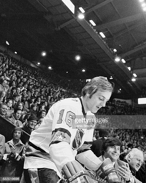 Guy Lafleur of the Eastern Conference AllStars steps onto the ice during introductions prior to the 1975 NHL AllStar Game on January 21 1975 at the...