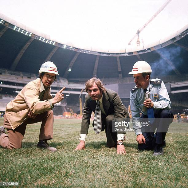 Guy Lafleur of the Montreal Canadiens poses for a photo during construction for Olympic Stadium in Montreal Quebec Canada