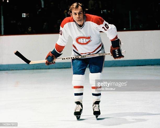 Guy Lafleur of the Montreal Canadiens skates Circa 1976 at the Montreal Forum in Montreal Quebec Canada