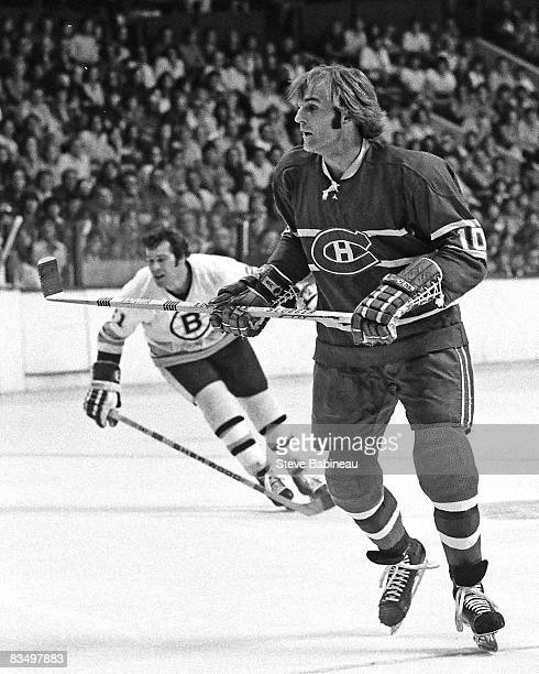 Guy Lafleur of the Montreal Canadiens skates in game at Boston Garden