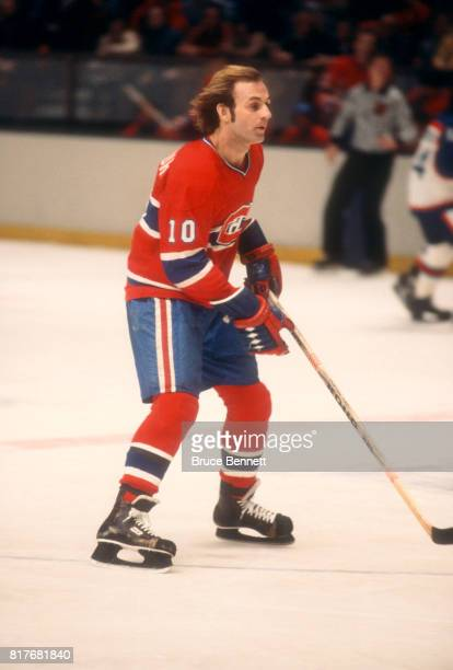 Guy Lafleur of the Montreal Canadiens skates on the ice during an NHL game against the New York Rangers on February 12 1978 at Madison Square Garden...