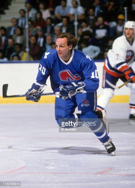 Guy Lafleur of the Quebec Nordiques skates on the ice during an NHL game against the New York Islanders circa 1989 at the Nassau Coliseum in...