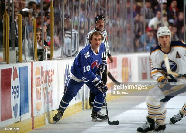 Guy Lafleur of the Quebec Nordiques skates on the ice during an NHL game against the Buffalo Sabres on March 28 1991 at the Buffalo Memorial...