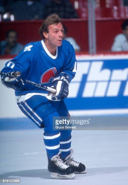 Guy Lafleur of the Quebec Nordiques skates on the ice during an NHL game against the Montreal Canadiens on January 5 1991 at the Montreal Forum in...