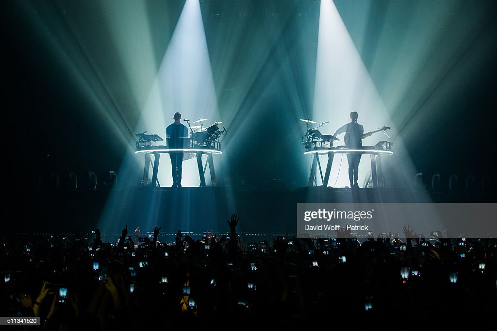 Guy Lawrence and Howard Lawrence from Disclosure perform at Zenith de Paris on February 19 2016 in Paris France