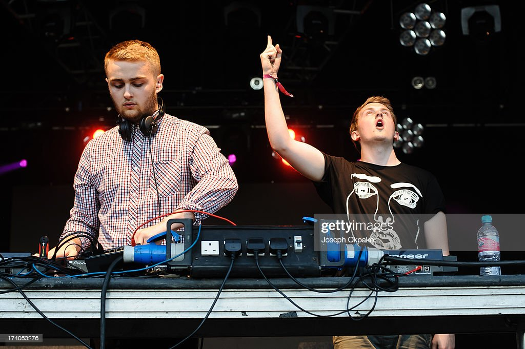 Guy Lawrence and Howard Lawrence of Disclosure performs on Day 1 of the Lovebox festival at Victoria Park on July 19, 2013 in London, England.