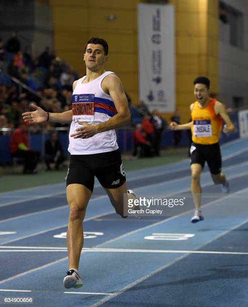 SHEFFIELD ENGLAND FEBRUARY Guy Learmonth crosses the line to win the mens 800 metres during the British Athletics Indoor Team Trials 2017 at English...