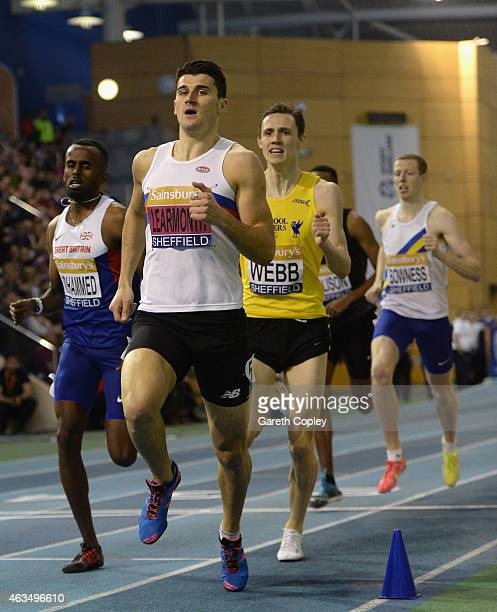 Guy Learmonth leads the pack on his way to winning gold in the mens 800 metres during the Sainsbury's British Athletics Indoor Championships at...