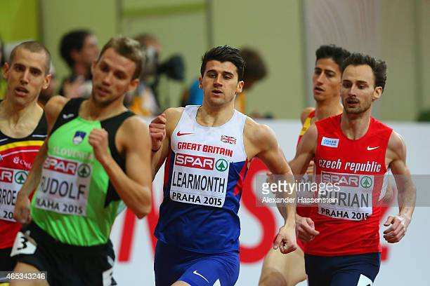 Guy Learmonth of Great Britain and Northern Ireland competes in the Men's 800 metres rounds during day one of the 2015 European Athletics Indoor...