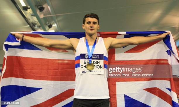 Guy Learmonth of Great Britain celebrates becoming British Champion in the men's 800m during day two of the British Athletics Indoor Team Trials 2017...
