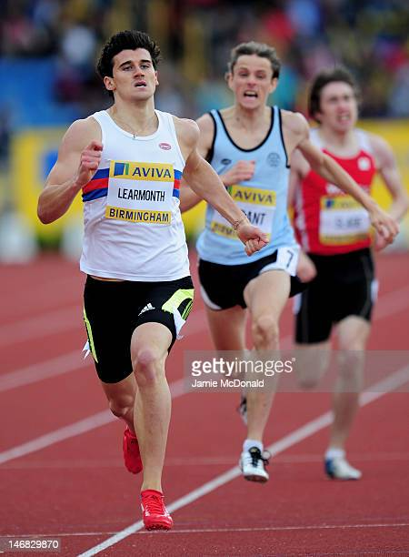 Guy Learmonth of Great Britain competes in the Men's 800 metres heats during day two of the Aviva 2012 UK Olympic Trials and Championship at...