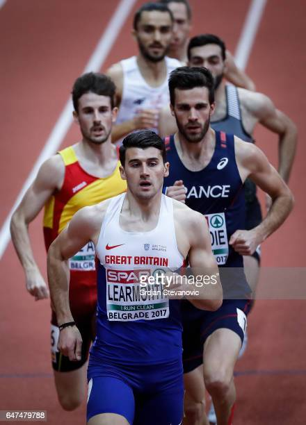 Guy Learmonth of Great Britain competes in the Men's 800 metres heats on day one of the 2017 European Athletics Indoor Championships at the Kombank...