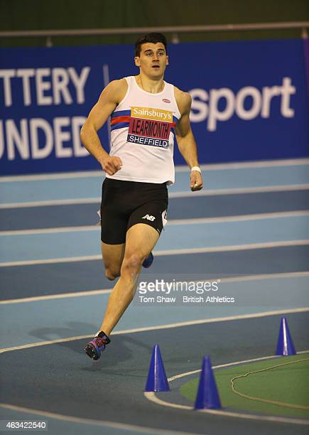 Guy Learmonth of Great Britain in action in the mens 800m heats during day 1 of the Sainsbury's Indoor British Championships at the English Institute...