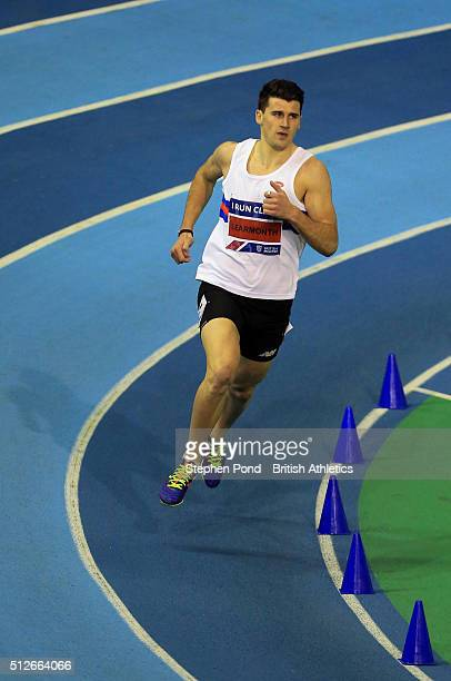 Guy Learmonth of Great Britain in the Mens 800m during day one of the Indoor British Championships at the English Institute of Sport on February 27...