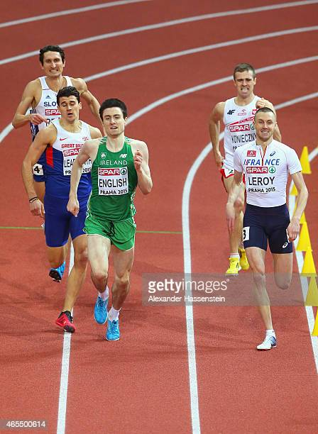 Guy Learmonth of Great Britain Northern Ireland Mark English of Ireland and Brice Leroy of France compete in the Men's 800 metres Semifinal during...
