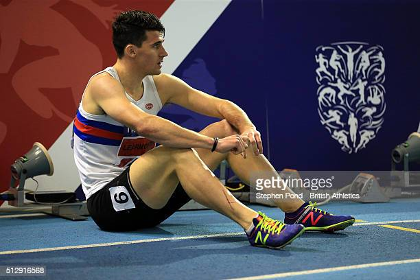 Guy Learmonth of Great Britain sits dejected after the mens 800m during day two of the Indoor British Championships at the English Institute of Sport...