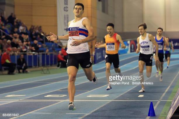 Guy Learmonth of Great Britain wins the mens 800m during day two of the British Athletics Indoor Team Trials 2017 at the English Institute of Sport...