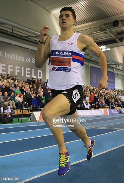 Guy Learmonth of Lasswadel in action during the Mens 800m heats during day one of the Indoor British Championships at English Institute of Sport on...