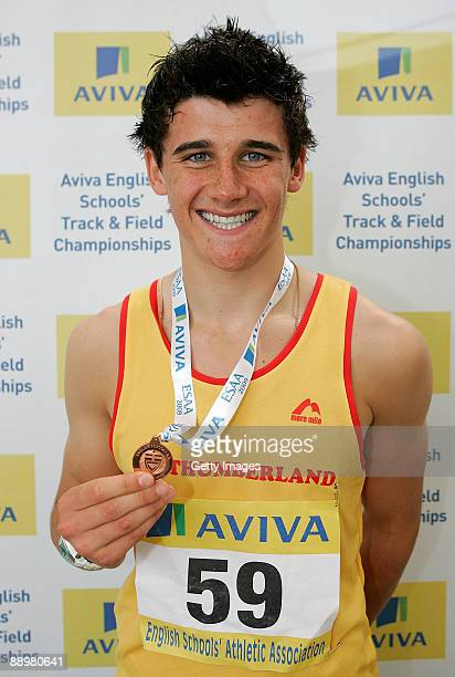 Guy Learmonth of Northumberland who placed 3rd in the Senior Boys 800m during the Aviva English Schools Track Field Championships at Don Valley...