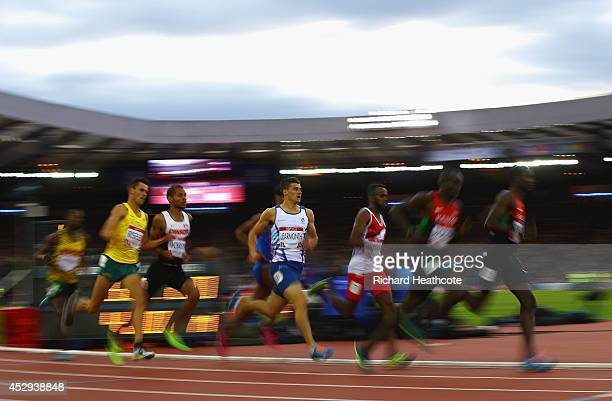 Guy Learmonth of Scotland competes in the Men's 800 metres semifinal at Hampden Park during day seven of the Glasgow 2014 Commonwealth Games on July...