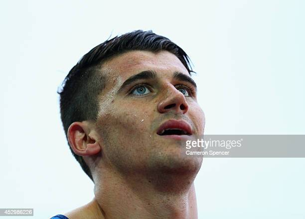 Guy Learmonth of Scotland looks on in the Men's 800 metres final at Hampden Park during day eight of the Glasgow 2014 Commonwealth Games on July 31...