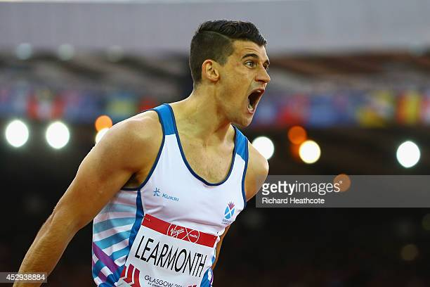 Guy Learmonth of Scotland reacts after competing in the Men's 800 metres semifinal at Hampden Park during day seven of the Glasgow 2014 Commonwealth...