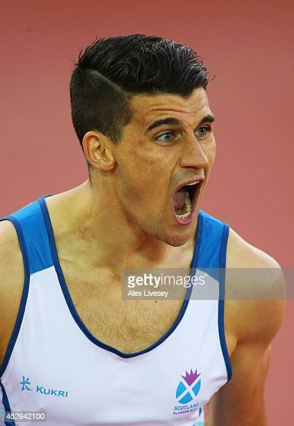 Guy Learmonth of Scotland reacts in the Men's 800 metres semifinal at Hampden Park during day seven of the Glasgow 2014 Commonwealth Games on July 30...