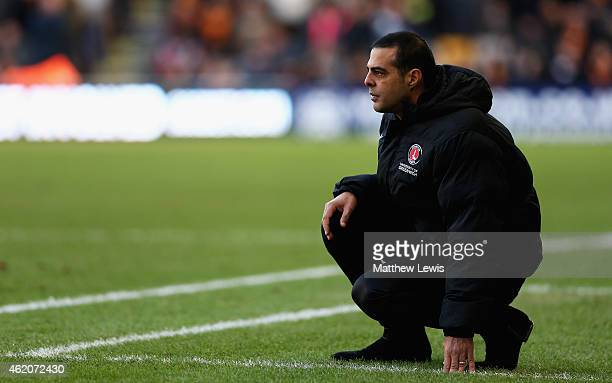 Guy Luzon manager of Charlton Athletic looks on during the Sky Bet Championship match between Wolverhampton Wanderers and Charlton Athletic at...