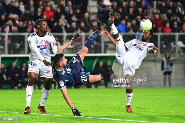 Guy Ngosso of Amiens Thiago Maia of Lille and Tanguy Ndombele of Amiens during the rescheduled Ligue 1 match between Amiens SC and Lille OSC at Stade...