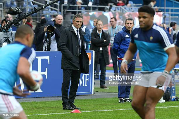 Guy Noves Head Coach of France is watching the warm up before the RBS Six Nations game between France and Italy at Stade de France on February 6 2016...