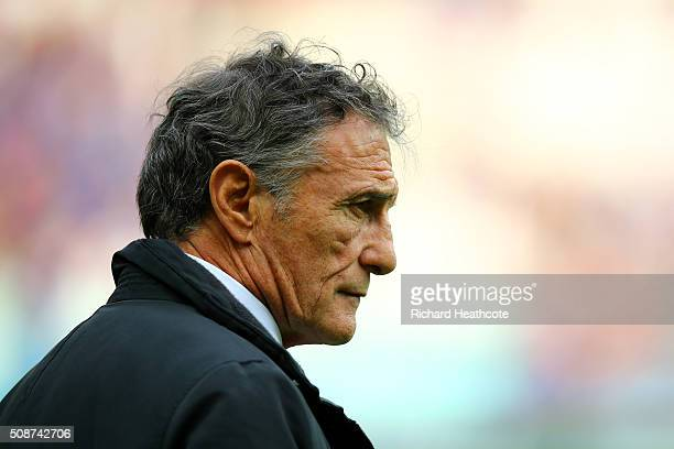 Guy Noves Head Coach of France looks on during the RBS Six Nations match between France and Italy at Stade de France on February 6 2016 in Paris...