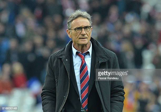 Guy Noves head coach of France looks on during the RBS Six Nations match between France and England at Stade de France on March 19 2016 in Paris...