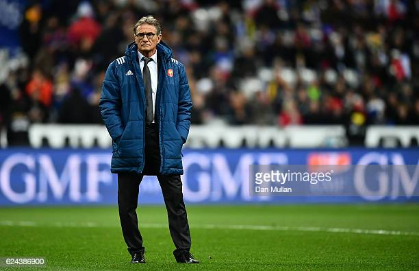 Guy Noves Head Coach of France looks on prior to the international match between France and Australia at Stade de France on November 19 2016 in Paris...