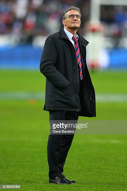 Guy Noves head coach of France looks on prior to the RBS Six Nations match between France and England at Stade de France on March 19 2016 in Paris...