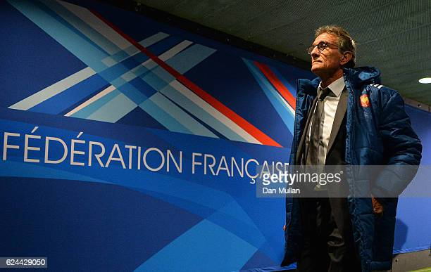 Guy Noves Head Coach of France makes his way down the tunnel prior to the international match between France and Australia at Stade de France on...