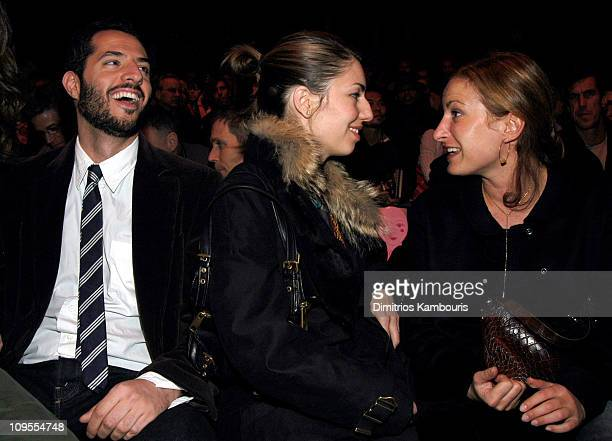 Guy Oseary Sofia Coppola and Zoe Cassavetes during MercedesBenz Fashion Week Fall 2003 Anna Sui Front Row at Bryant Park in New York NY United States