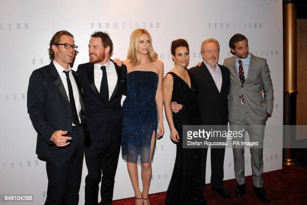 Guy Pearce Michael Fassbender Charlize Theron Noomi Rapace Ridley Scot and Logan MarshallGreen arrive for the world premiere of the film Prometheus...