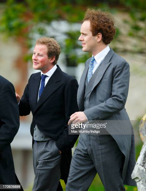 Guy Pelly and Tom Inskip attend the wedding of William van Cutsem and Rosie Ruck Keene at the church of St Mary the Virgin in Ewelme on May 11 2013...