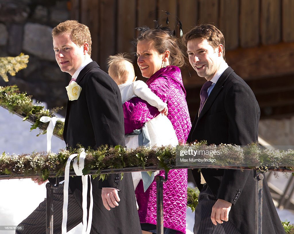 Guy Pelly, Rosie Meade and Harry Meade attend the wedding of Laura Bechtolsheimer and Mark Tomlinson at the Protestant Church on March 2, 2013 in Arosa, Switzerland.