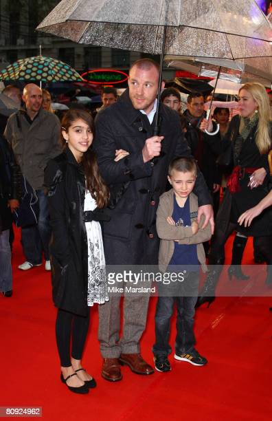 Guy Ritchie and his stepdaughter Lourdes Leon and son Rocco Ritchie arrive at the UK Premier of Speed Racer at the Empire Leicester Square in London...