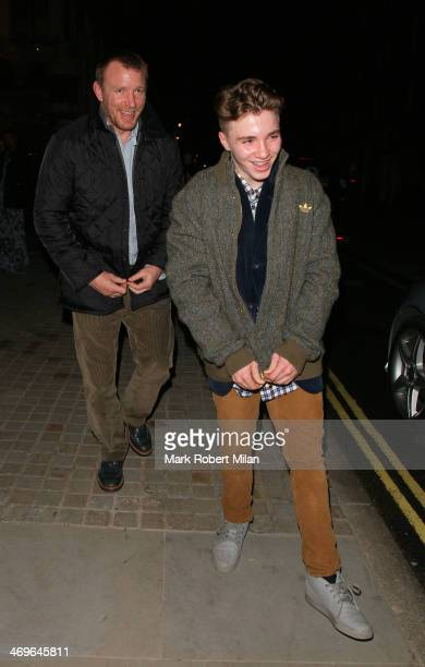 Guy Ritchie and Rocco Ritchie at the Chiltern Firehouse during London Fashion Week on February 15 2014 in London England
